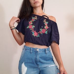 Truth NYC Embroidered Crop Top